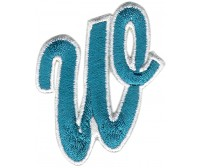 W Applique Aqua And White