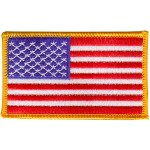 American Flag Patch (3.5 x 2) Gold Border